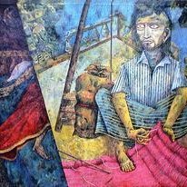 Dhunuriwala by Arindam Dutta, Expressionism Painting, Tempera on Canvas, Blue color
