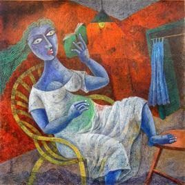 The Lady by Arindam Dutta, Expressionism Painting, Tempera on Board, Brown color