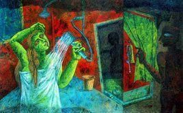 Curiosity by Arindam Dutta, Expressionism Painting, Tempera on Board, Green color