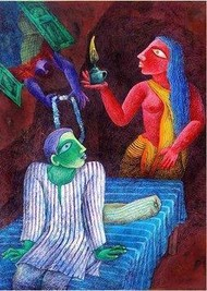Fantacy by Arindam Dutta, Expressionism Painting, Tempera on Board, Blue color