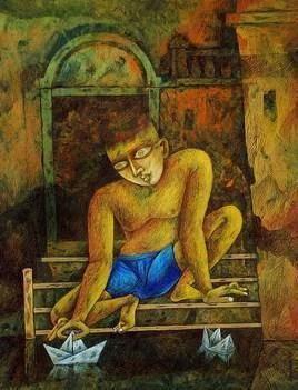 My Childhood by Arindam Dutta, Expressionism Painting, Tempera on Board, Brown color