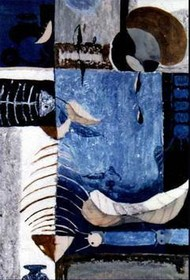 Waiting for Monsoon - II by Prashant Mahangare, Conceptual, Conceptual Painting, Mixed Media on Paper, Blue color