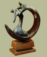 Jiban Nouka by Sanjib Narayan Dutta, Decorative, Decorative Sculpture | 3D, Bronze, Beige color