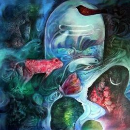 Shiv Shakti by Ravinder Sharma, Conceptual, Conceptual Painting, Acrylic on Canvas, Green color