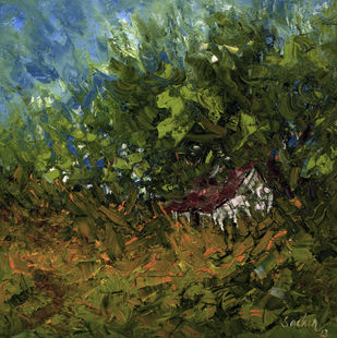 Shelter by Sachin Upadhye, Impressionism, Impressionism Painting, Oil on Canvas, Green color