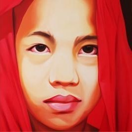 Monk 1 by Umakant Tawde, Expressionism, Expressionism Painting, Oil on Canvas, Red color