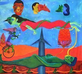 Chronicle of a Fore Told Story by Gayatri Artist, Naive, Naive Painting, Acrylic on Canvas, Cyan color