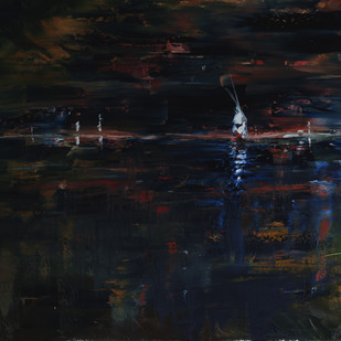 Color Of The Night by Sachin Upadhye, Impressionism, Impressionism Painting, Oil on Canvas, Black color