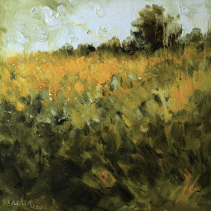 Sunshine Mood by Sachin Upadhye, Impressionism, Impressionism Painting, Oil on Canvas, Green color