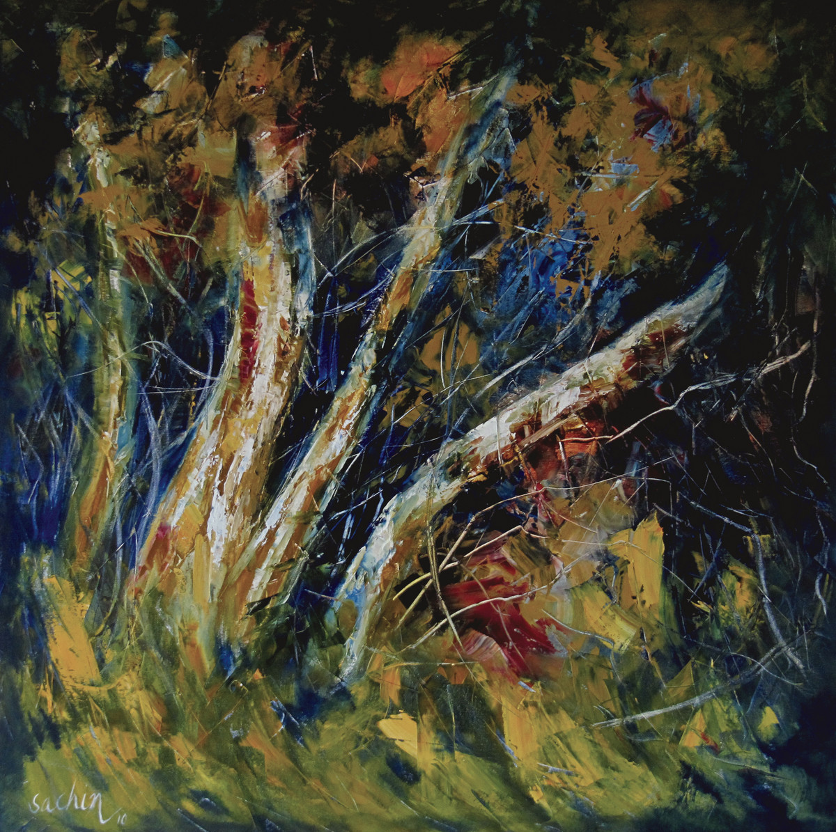 Roots by Sachin Upadhye, Impressionism, Impressionism Painting, Oil on Canvas, Green color