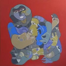 Untitled by Shambhu Prasad Reddy, Conceptual, Conceptual Painting, Acrylic on Canvas, Red color