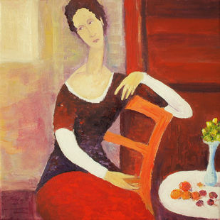 Still Life With Seated Woman by Animesh Roy, Decorative, Decorative Painting, Oil on Linen, Brown color