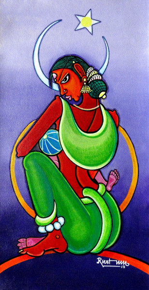 Mathrumurthy by M D Rustum, Painting, Acrylic on Canvas, Blue color