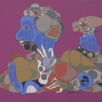 Untitled by Shambhu Prasad Reddy, Conceptual, Conceptual Painting, Acrylic on Canvas, Purple color
