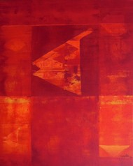 Reflection 25 by Gayatri Deshpande, Abstract, Abstract Painting, Acrylic on Canvas, Red color
