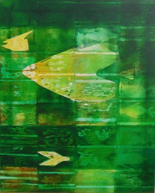 Reflection 20 by Gayatri Deshpande, Abstract, Abstract Painting, Acrylic on Canvas, Green color