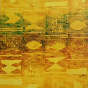 Reflection 21 by Gayatri Deshpande, Abstract, Abstract Painting, Acrylic on Canvas, Orange color