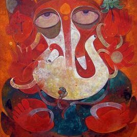 Ganapati-02 by Atish Mukherjee, Expressionism, Expressionism Painting, Mixed Media on Canvas, Brown color