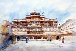 City of Palace by Vikrant Shitole, Impressionism Painting, Watercolor on Paper, Gray color