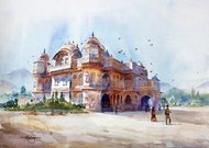 Vijay Vilas Palace by Vikrant Shitole, Painting, Watercolor on Paper, Cyan color