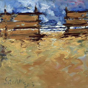 You are Never Lonely on The Beach Digital Print by Sachin Upadhye,Impressionism, Impressionism