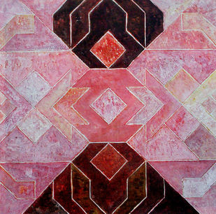 Geometrical View by Sandesh Khule, Geometrical, Geometrical Painting, Acrylic on Canvas, Pink color