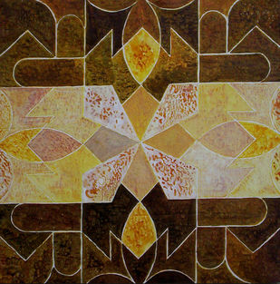 Geometrical View 03 by Sandesh Khule, Geometrical, Geometrical Painting, Acrylic on Canvas, Brown color