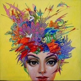 Beauty 2 by Saumya Bandyopadhyay, Painting, Acrylic on Canvas, Beige color