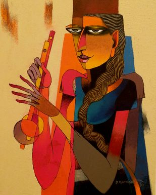 Violin seller 57 by Dayanand Kamakar, Decorative, Decorative Painting, Mixed Media on Canvas, Brown color