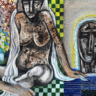 Nude Scape by Arun K Mishra, Decorative, Decorative Painting, Acrylic on Canvas, Gray color