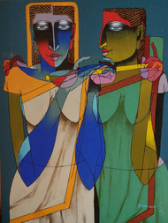 Violin Sellers 48 by Dayanand Kamakar, Decorative, Decorative Painting, Mixed Media on Canvas, Brown color