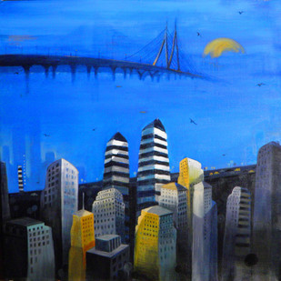 The Cityscape by Anuradha Date, Painting, Acrylic on Canvas, Blue color