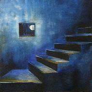 The Blue Window by Anuradha Date, Decorative, Decorative Painting, Acrylic on Canvas, Blue color