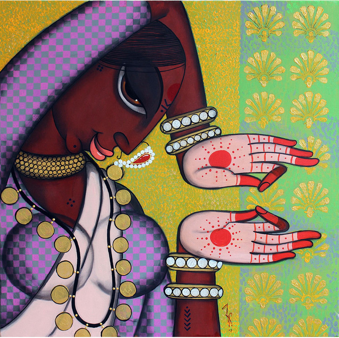 Rhythmic 8 by Varsha Kharatmal, Traditional, Traditional Painting, Mixed Media on Canvas, Brown color