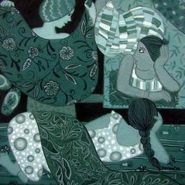 Gossip by Soma Das, Decorative, Decorative Painting, Gouache on Board, Green color