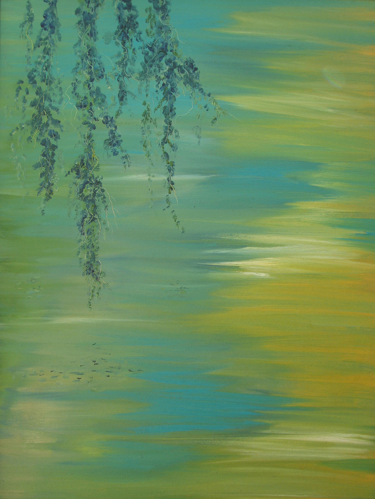 Branches and Water II by Animesh Roy, Impressionism, Impressionism Painting, Oil on Canvas, Green color
