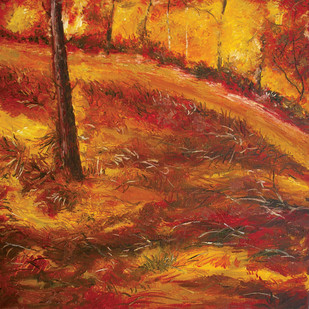 Autumn Landscape by Animesh Roy, Impressionism, Impressionism , Oil on Canvas, Brown color