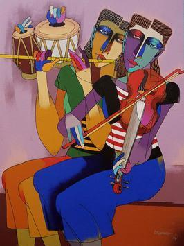 Musicians by Dayanand Kamakar, , , Brown color