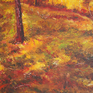 Autumn Landscape by Animesh Roy, Impressionism, Impressionism Painting, Oil on Canvas, Brown color