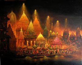 Benaras At Night by Ananda Das, , , Brown color