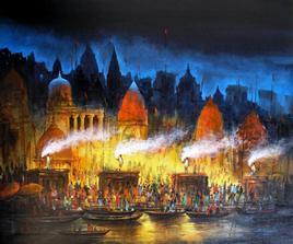 Benaras at Night - I by Ananda Das, , , Brown color