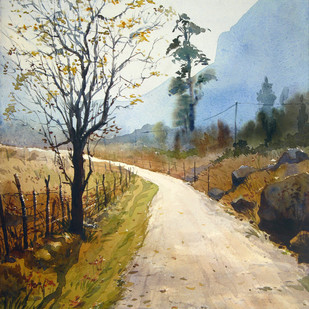 Road to Yumthang by Ranabir Saha, Painting, Watercolor on Paper, Beige color