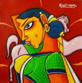 Telangana Sister by M D Rustum, , , Red color