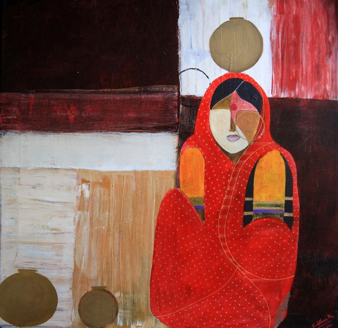 Pot Series II by Siddharth Katragadda, Painting, Acrylic on Canvas, Brown color