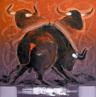 Bull - 66 by Sujith Kumar GS Mandya, Impressionism, Impressionism Painting, Oil on Canvas, Brown color