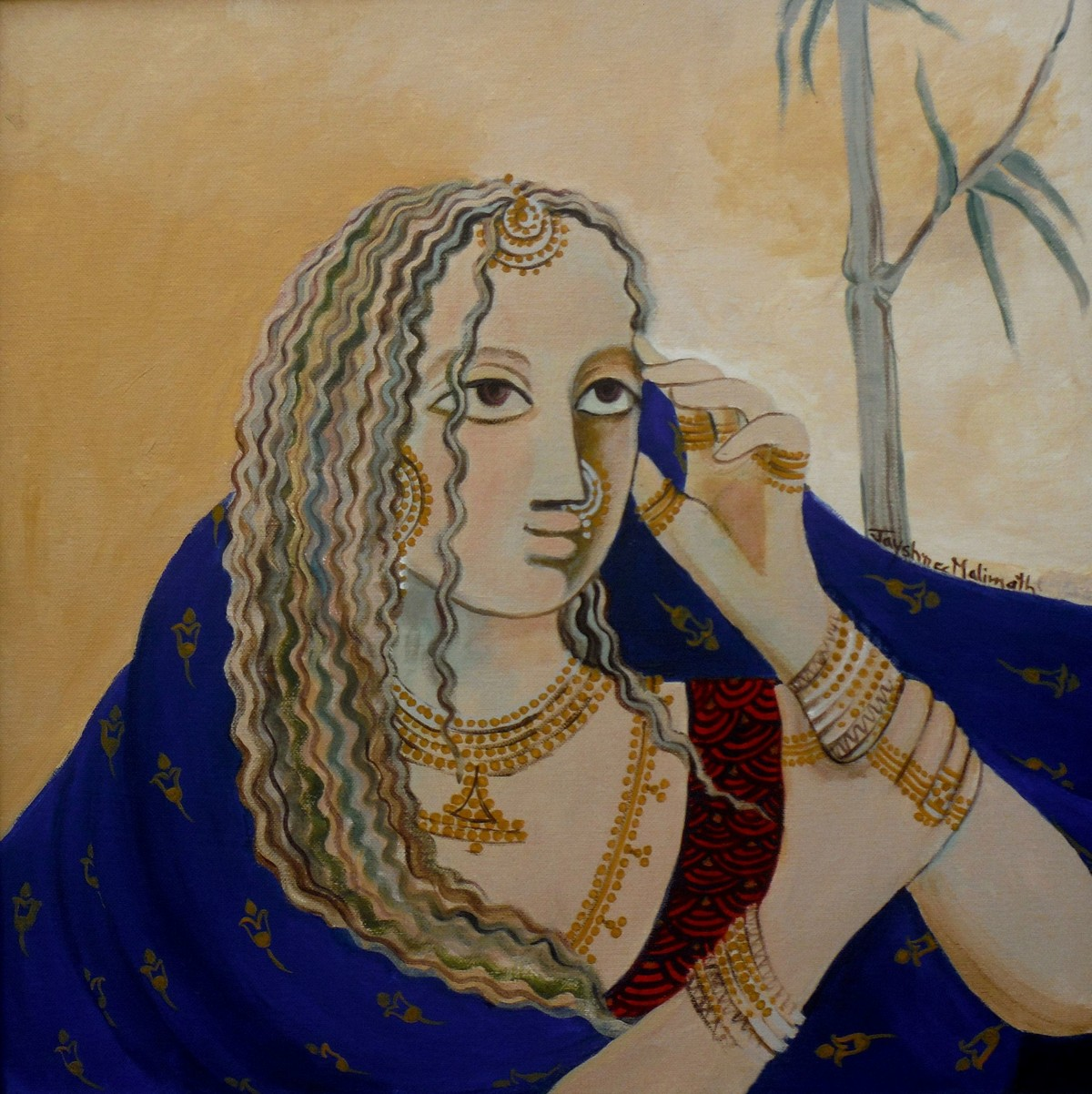 Mood 01 by Jayshree P Malimath, Traditional, Traditional Painting, Acrylic on Canvas, Brown color