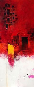 Red Wada II by Amol Pawar, Abstract, Abstract Painting, Acrylic on Canvas, Red color
