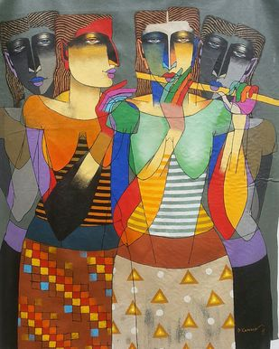 Playing Flute 2 by Dayanand Kamakar, Decorative, Decorative Painting, Acrylic on Canvas, Brown color