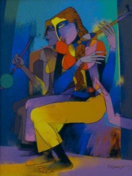 Violin Seller by Dayanand Kamakar, , , Blue color