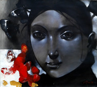 Relation II by Mithun Dutta, Expressionism, Expressionism Painting, Mixed Media on Canvas, Gray color